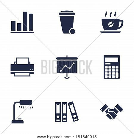 Set Of 9 Bureau Icons Set.Collection Of File Folder, Presentation, Coffee And Other Elements.