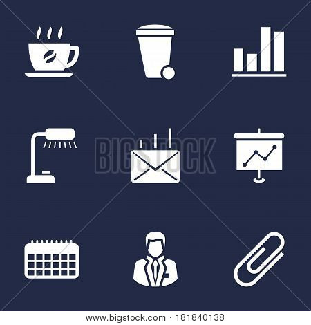 Set Of 9 Bureau Icons Set.Collection Of Calendar, Presentation, Mail And Other Elements.