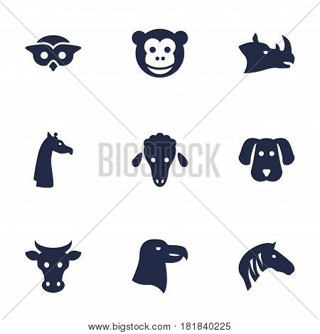 Set Of 9 Beast Icons Set.Collection Of Ape, Kine, Owl And Other Elements.