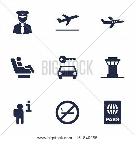 Set Of 9 Airplane Icons Set.Collection Of Vip, Leaving, Aircraft And Other Elements.