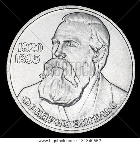 Commemorative coin USSR one ruble. Friedrich Engels 1820-1895. Year of release 1985. Isolated on black background.