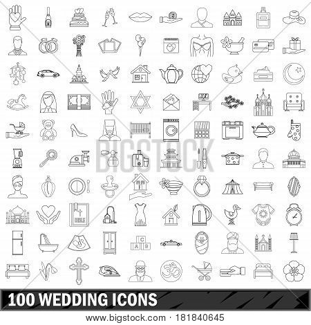 100 wedding icons set in outline style for any design vector illustration