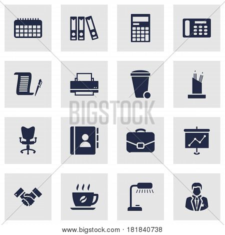 Set Of 16 Work Icons Set.Collection Of Pencil Stand, Telephone, Manager Elements.