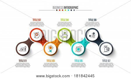 Vector circle infographic. Template for diagram, graph, presentation, timeline and chart. Business concept with 7 options, parts, steps or processes. Stroke icons.