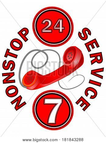 Nonstop service call centrum label in red design