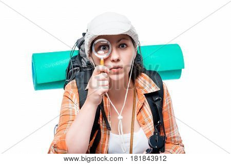 Tourist Explorer With Magnifier On White Background