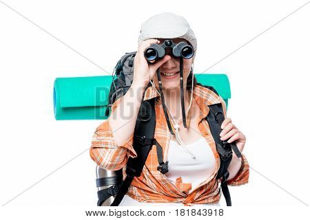 Horizontal Portrait Of A Tourist Looking At You Through The Binoculars On A White Background