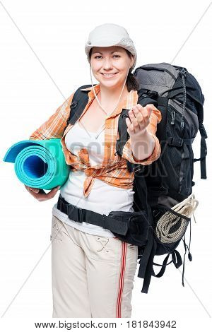Smiling Girl With Tourist Equipment Invites You To Go With Her Hiking Isolated