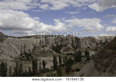 Stunning landscape sunny and cloudy in Capadocia, Turkey