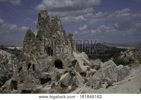 Beautiful landscape, rocks, mountains and clouds in Capadocia Region, Turkey