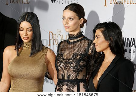 Kim Kardashian West, Kourtney Kardashian and Angela Sarafyan at the Los Angeles premiere of 'The Promise' held at the TCL Chinese Theatre in Hollywood, USA on April 12, 2017.