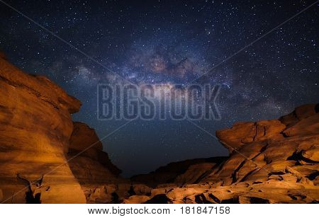 Milky way at Sam Pan Bok canyon Ubon ratchathani Thailand