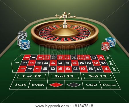 Vector realistic casino roulette table, wheel and black, red, blue chips isolated on green background