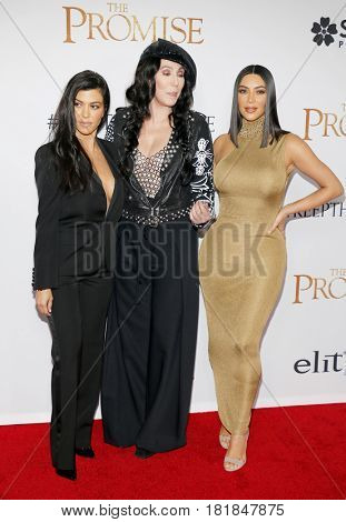 Cher, Kim Kardashian West and Kourtney Kardashian at the Los Angeles premiere of 'The Promise' held at the TCL Chinese Theatre in Hollywood, USA on April 12, 2017.