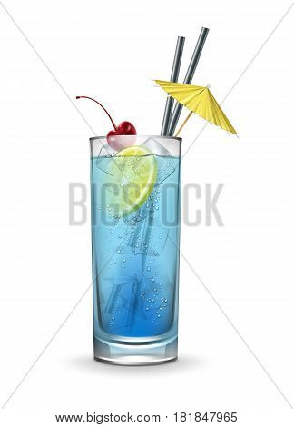 Vector Blue lagoon cocktail garnished with maraschino cherry, ice cubes, fresh lemon, yellow party umbrella and black straw tubes isolated on white background