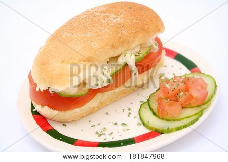 A Panini with tomatoes, cucumber and onions