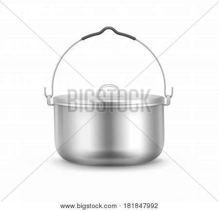 Vector new shiny steel camping pot with lid and handle side view isolated on white background