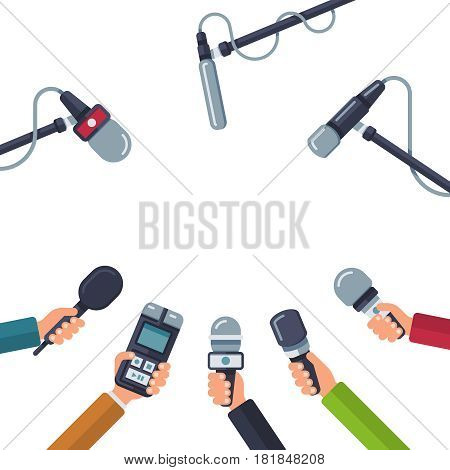 Hands holding microphones, press conference vector. Concept media press, reporter with dictaphone illustration
