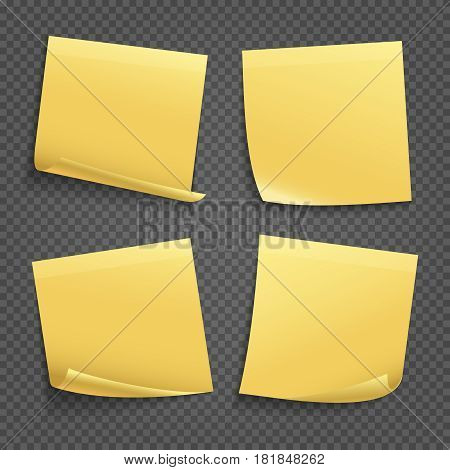 Vector yellow sticky notes isolated on transparent background. Office blank memo paper sticky illustration