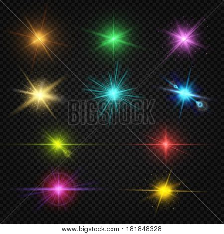 Festive color lens flare light effects, party, entertainment lights vector elements. Shiny star twinkle, illustration of flash color illuminated
