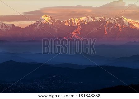 First light on Trishul Peak in the Himalayas. Elevation 7,120 Meter