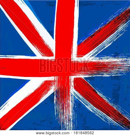 Grunge background in colors of United Kingdom flag