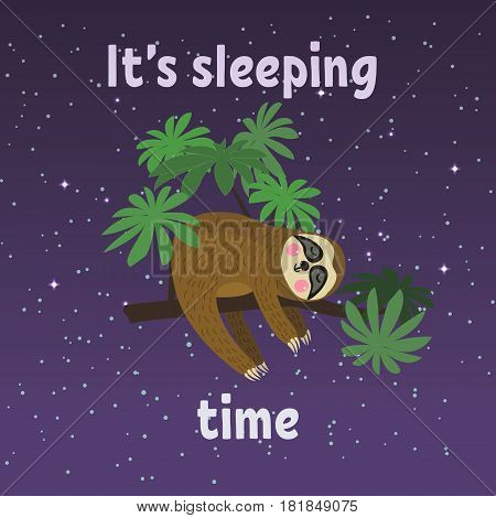 Sleeping sloth on tree branch . Cute cartoon character. Wild jungle animal collection. Baby education. Isolated. Flat design Vector illustration