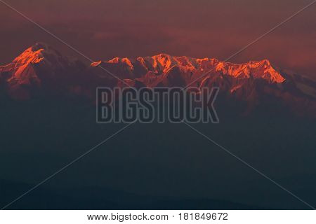 First light on Nandadevi Peak in the Himalayas. Elevation 7,816 Meter