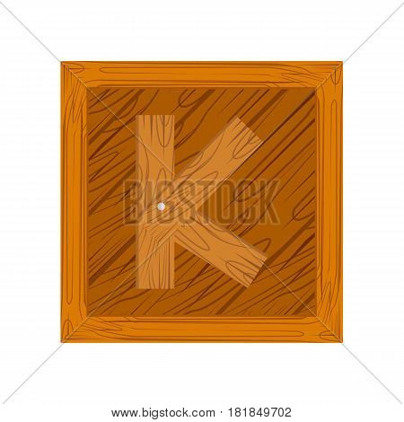 wooden block alphabet K letter icon isolated on white background