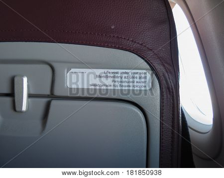 Aicraft Seat With Multilingual Tags