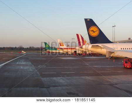 Aircrafts Parked At The Airport In Hamburg