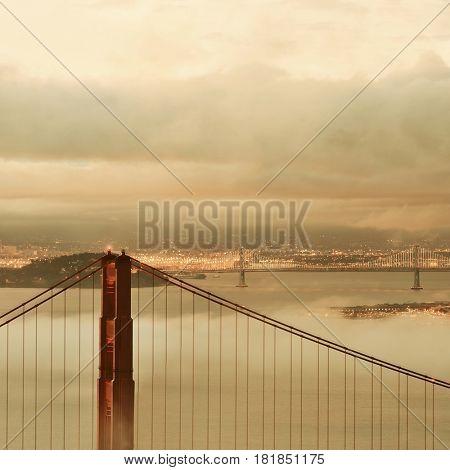 Golden Gate Bridge and fog in San Francisco