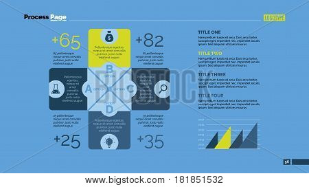 Four cross sides chart. Business data. Value, diagram, design. Concept for infographic, presentation, report. Can be used for topics like analysis, statistics, training.