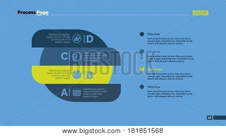 Four options process chart slide template. Business data. Step, diagram, design. Creative concept for infographic, presentation. Can be used for topics like management, strategy, logistics.