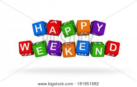 Happy Weekend. Colorful Toy Block Flying on White Background. 3D illustration.