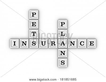 Pets insurance plans crossword puzzle. Pets Healthcare concept. 3D illustration on white background.