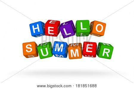 Hello Summer. Colorful Toy Block Flying on White Background. 3D illustration.