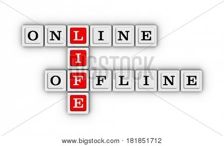 Online and Offline Life crossword puzzle. Virtual and real life concept. 3D illustration isolated on white background.
