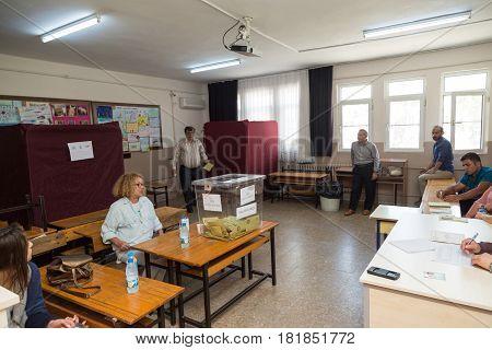 At Datca Mugla Turkey- April 16 2017: Referendum in Turkey man using vote in Kazim yilmaz elemantary school in Datca Mugla Turkey.