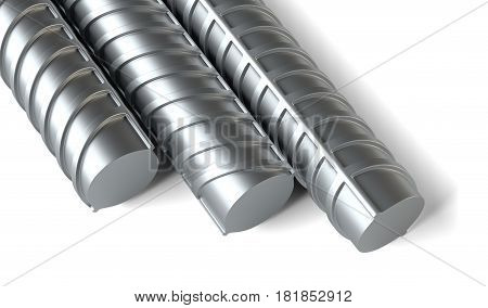 Close-up, steel reinforcements. Construction industry concept. 3D illustration. Isolated on white