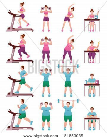 Isolated fat slim fitness people icon set with women and men in gym on treadmill and with shells vector illustration