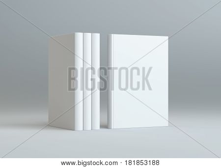 Blank books mockup with shadow on gray background. 3d illustration