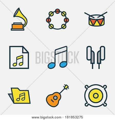 Audio Colored Outlines Set. Collection Of Strings, Sound, List And Other Elements. Also Includes Symbols Such As Tambourine, Soundtrack, Earphones.
