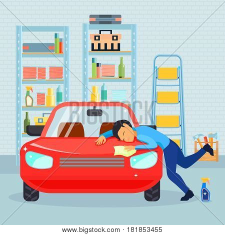 Colored flat male love his car composition with man washes his car in the garage vector illustration