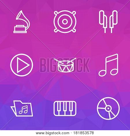 Audio Outlines Set. Collection Of Circle, Melody, Plastic And Other Elements. Also Includes Symbols Such As Folder, Keys, Piano.