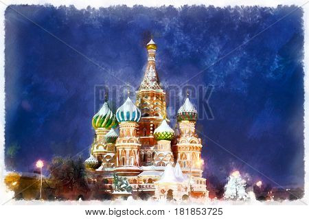 Colorful painting of Saint Basil's Cathedral at night, Red square, Moscow, Russia
