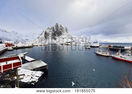 Traditional fishing settlements of Lofoten islands. Beautiful Norway landscape and old architecture.