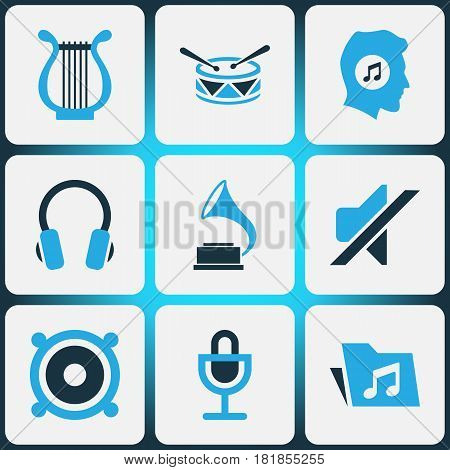 Music Colored Icons Set. Collection Of Folder, Headset, Harp And Other Elements. Also Includes Symbols Such As Headset, Music, Earmuff.