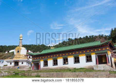 Langmusi, China - Sep 25 2014: Sertri Gompa (dacanglangmu Saichisi). A Famous Lamasery In Langmusi,