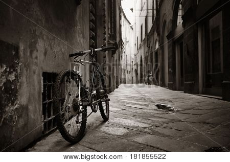 Lucca street view with bike in Italy